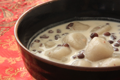 Taro rice balls with red beans