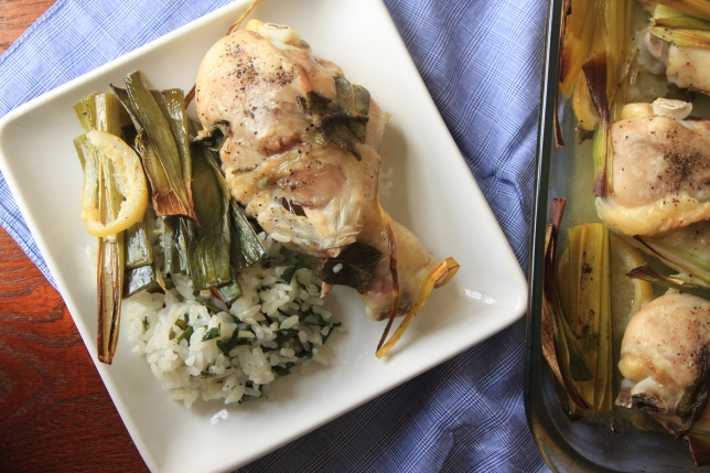sage roasted chicken with leeks (2)