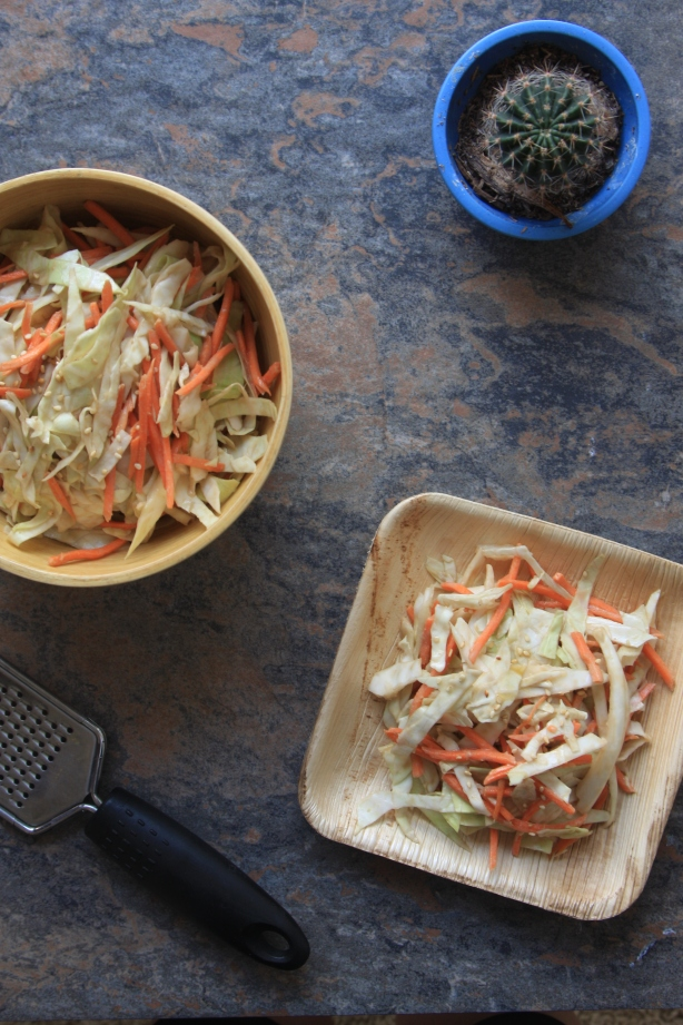 Summer slaw + ginger tahini dressing