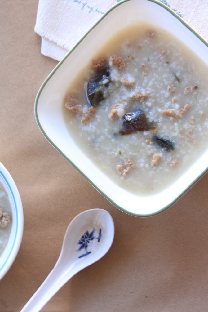 Preserved duck egg and pork congee