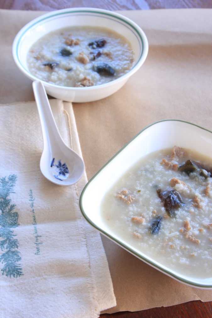 preserved duck egg congee
